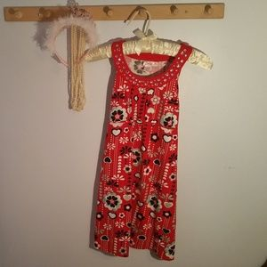 Justice Size 14 Jeweled Red Flowered Sun Dress